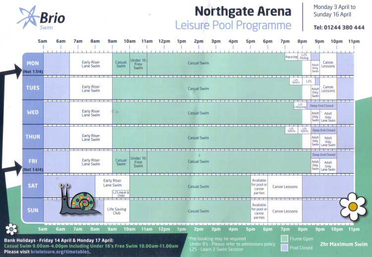 Chester Tourist Northgate Arena Swimming Timetable