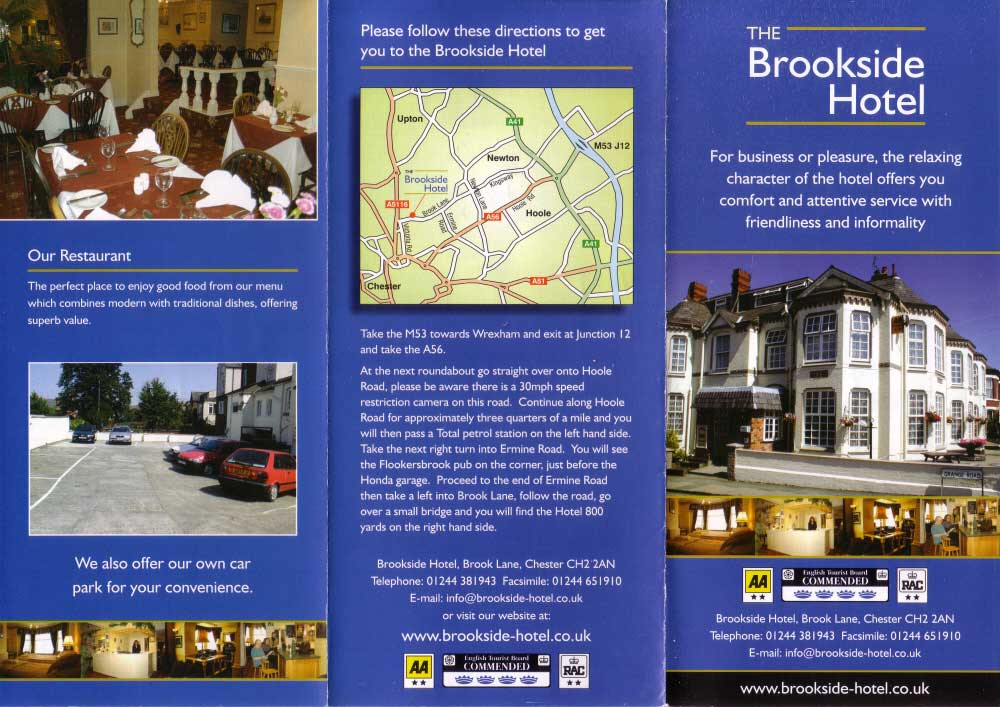Chester Tourist Brookside Hotel Brochure Accommodation In Chester Cheshire U K