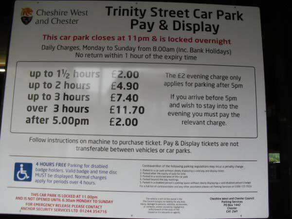 Chester Tourist Parking At Trinity Street Car Park