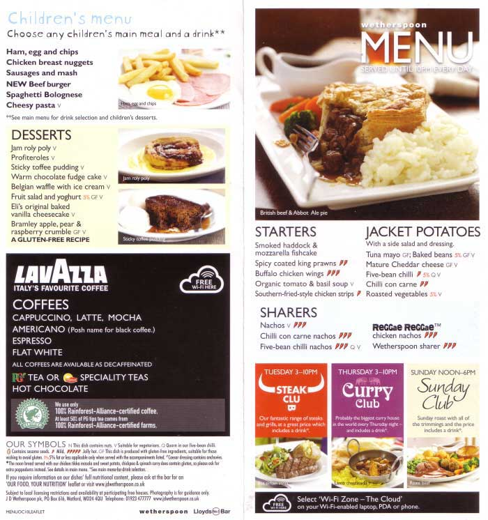 Wetherspoons meal deals saturday