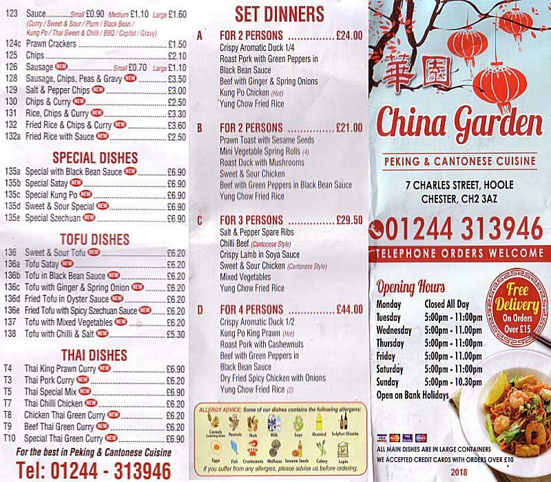 Chester Tourist China Garden Takeaway
