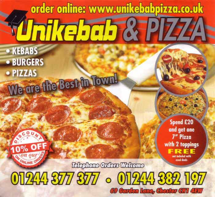 Chester Tourist Garden Lane Unikebab And Pizza
