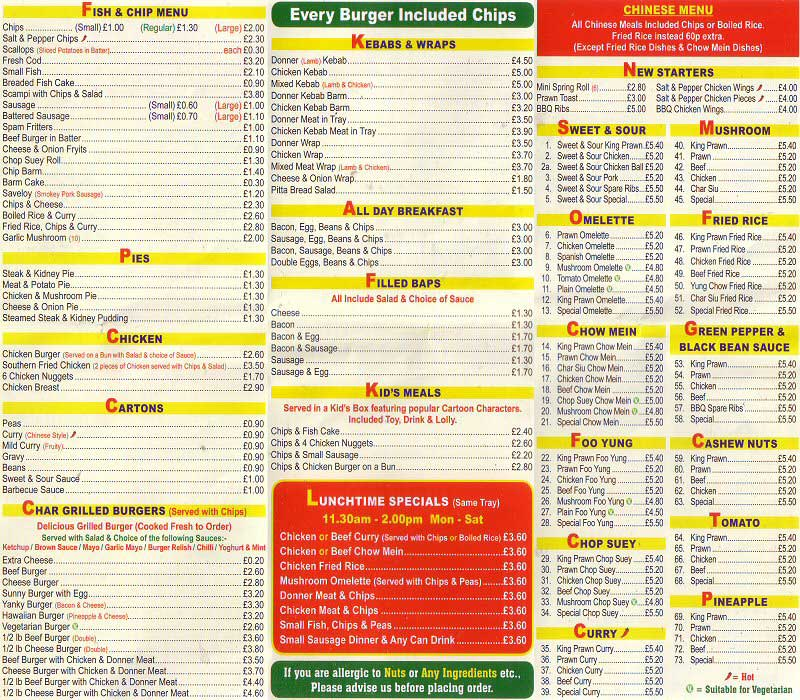 Chester tourist hoole fish bar menu chester for One fish two fish menu