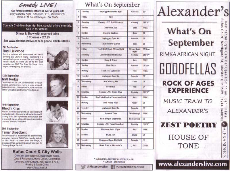 Alexanders What's On Guide Page 1 (Roll MOUSE Over to Super Size!)