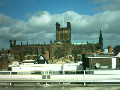 Chester Cathedral taken from the roof of The Mall's Car Park