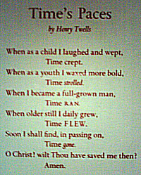 Times Paces - A Poem on a Clock by Henry Twells