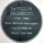 Plaque on No. 16 Bridge Street. The birth place of Randolph Caldecott
