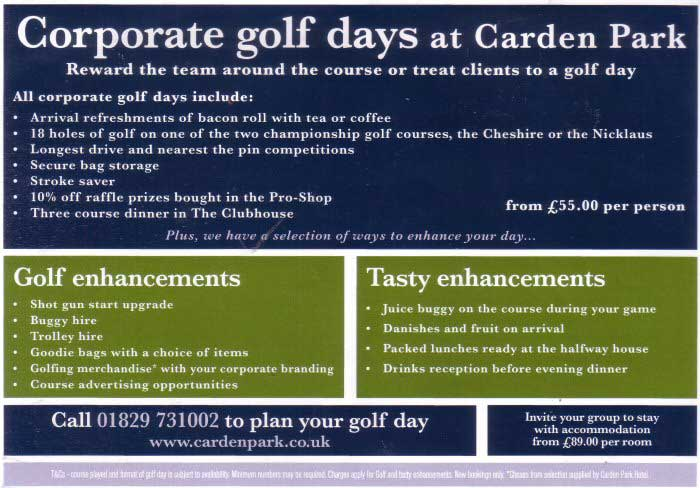 Golf at Carden Park 2. Click to Book the Hotel Online with Laterooms.com