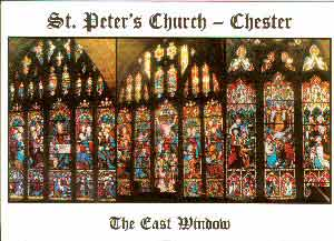 St Peter's Church Chester East Windows Post Card