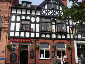 Shropshire Arms located on Northgate Street next to the Library. Please click for Pub Review
