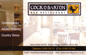 Cock O Barton Bar and Restaurant. Business Card