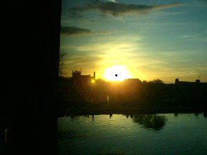 Telford's Warehouse. Sunset as seen from the window.