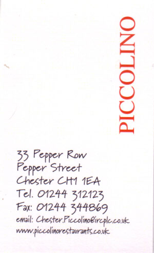 Piccolino Restaurant taken from Pepper Street. Please click for Web Site
