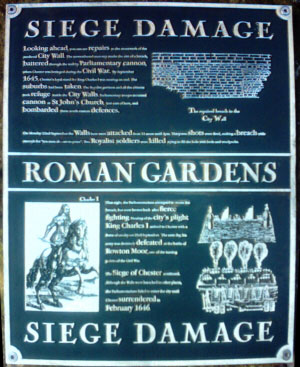 The Roman Gardens - Civil War Siege Damage Information Plaque