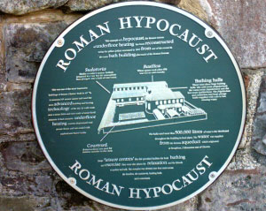 Roman hypocaust information plaque
