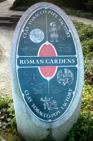 Roman Gardens - Information plaque on the Clay Tobacco Pipe Factories