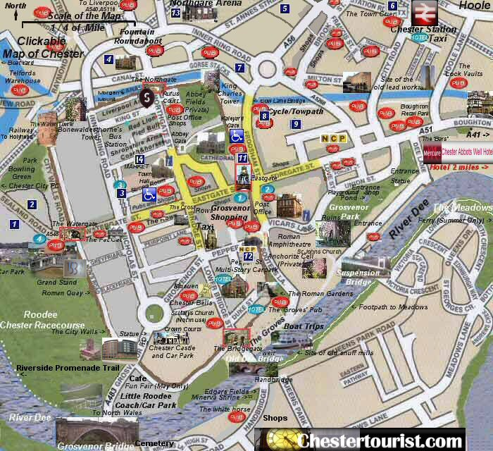 Chester Tourist Map Of Chester