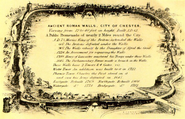 An Old Map of Chester's City Walls